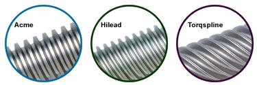 acme lead screws, hilead screws, torqspline screws